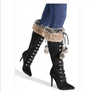Camel, cognac faux fur suade boot new nev tried on